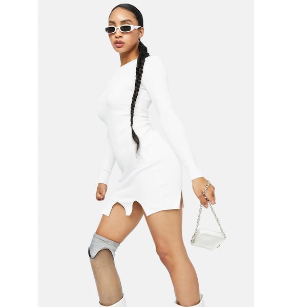 Blanc Servin' Attitude Ribbed Mini Dress