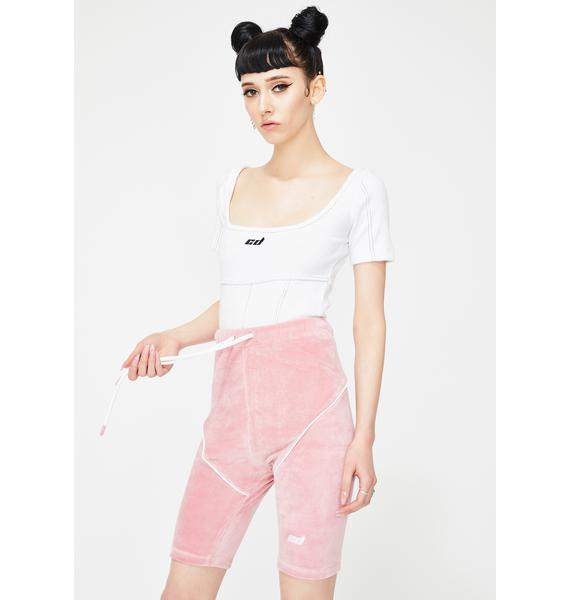 Criminal Damage Pink Velour Biker Shorts