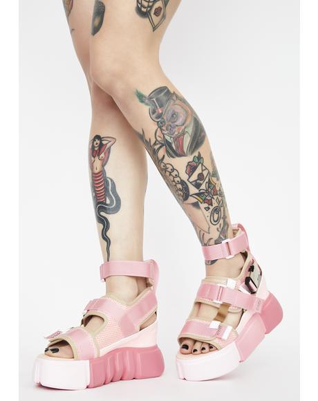 Pink Cranberry Platform Sandals