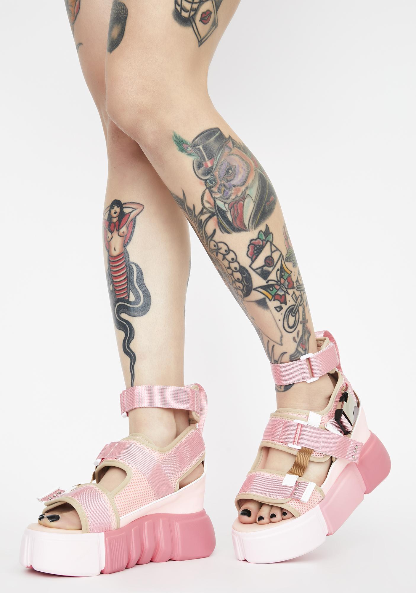 Anthony Wang Pink Cranberry Platform Sandals