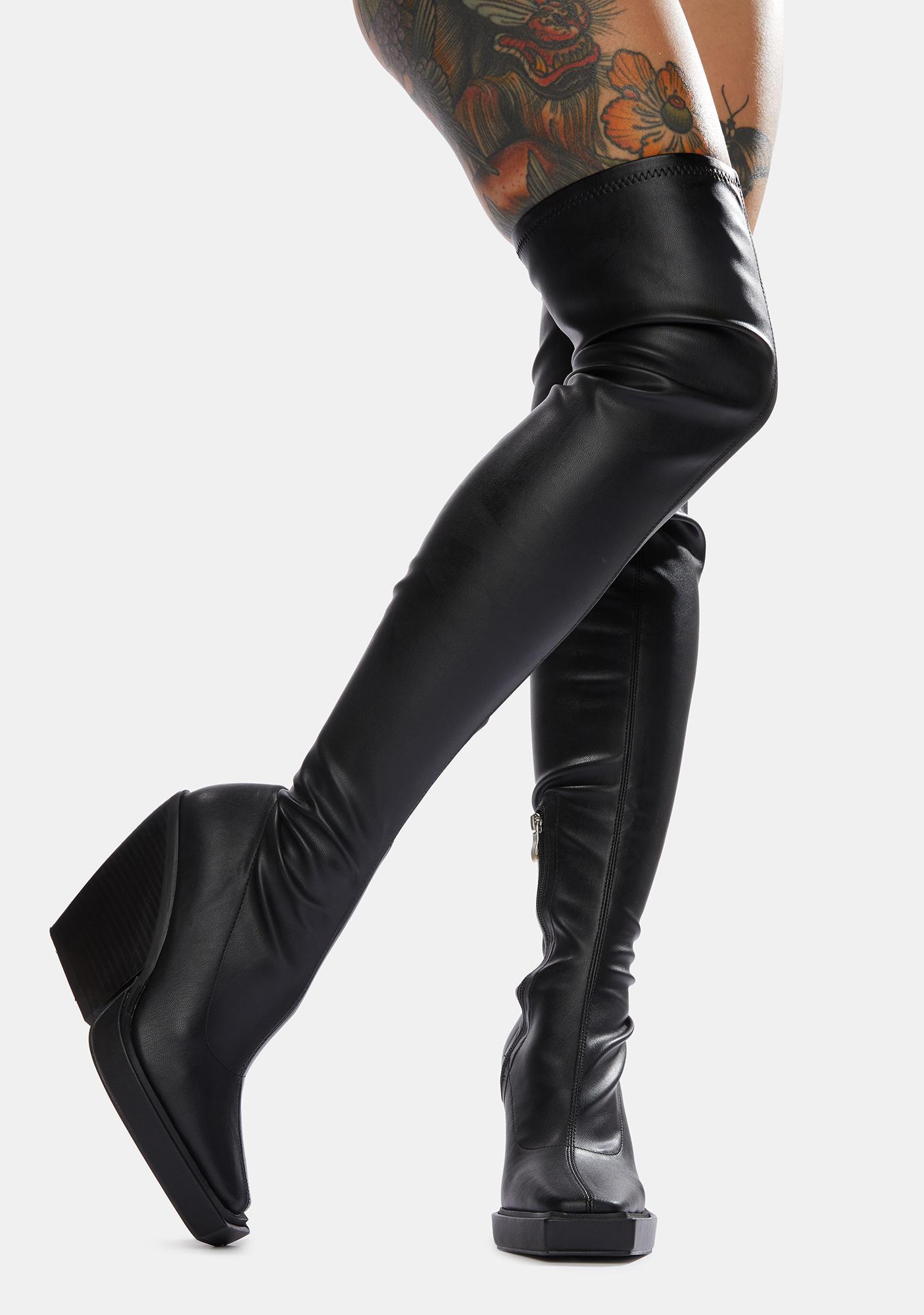 Public Desire Black Nix Thigh High Platform Wedge Boots