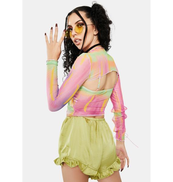 ZEMETA Disco Sleeve Tie Dye Top Set
