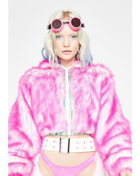 Sugar Light-Up Aqua Tip Fur Crop Jacket
