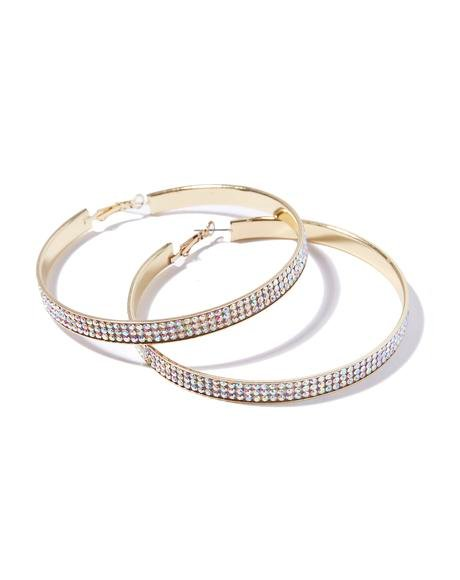 Sparkle Seeker Rhinestone Hoop Earrings