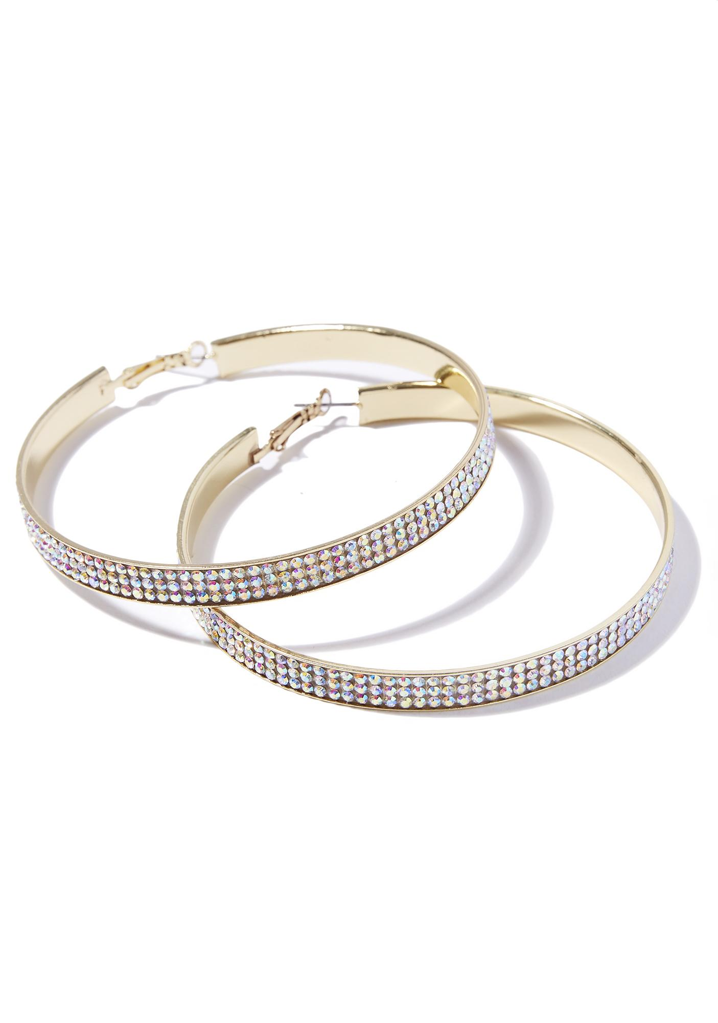 Sparkle Seeker Rhinestone Hoop Earrings