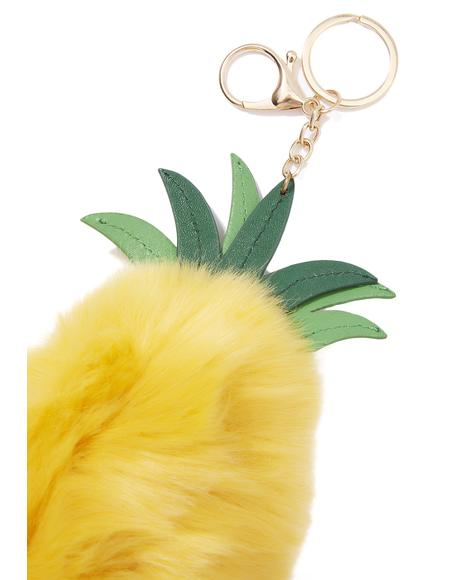 Furry Pineapple Keychain