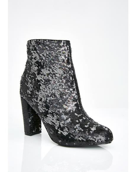 Dark Sparkle On Fleek Sequin Booties