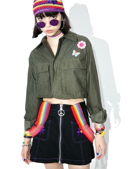 Reworked Crop Army Jacket