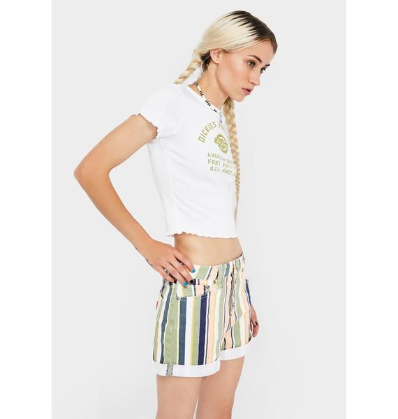 Dickies Girl Striped Exposed Button Shorts