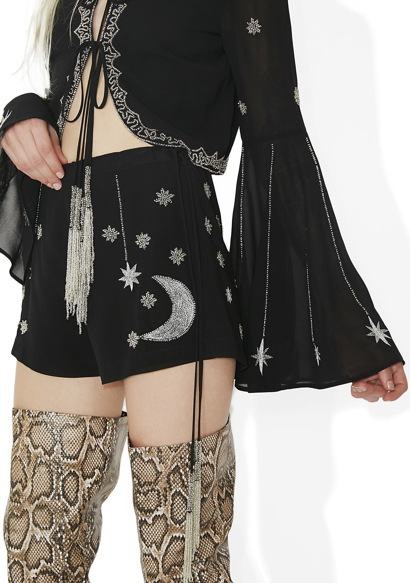 Current Mood Bad Moon Risin' Beaded Shorts