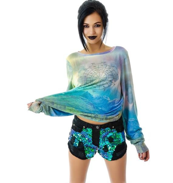Blessed Are The Meek Siren Sequin Denim Shorts