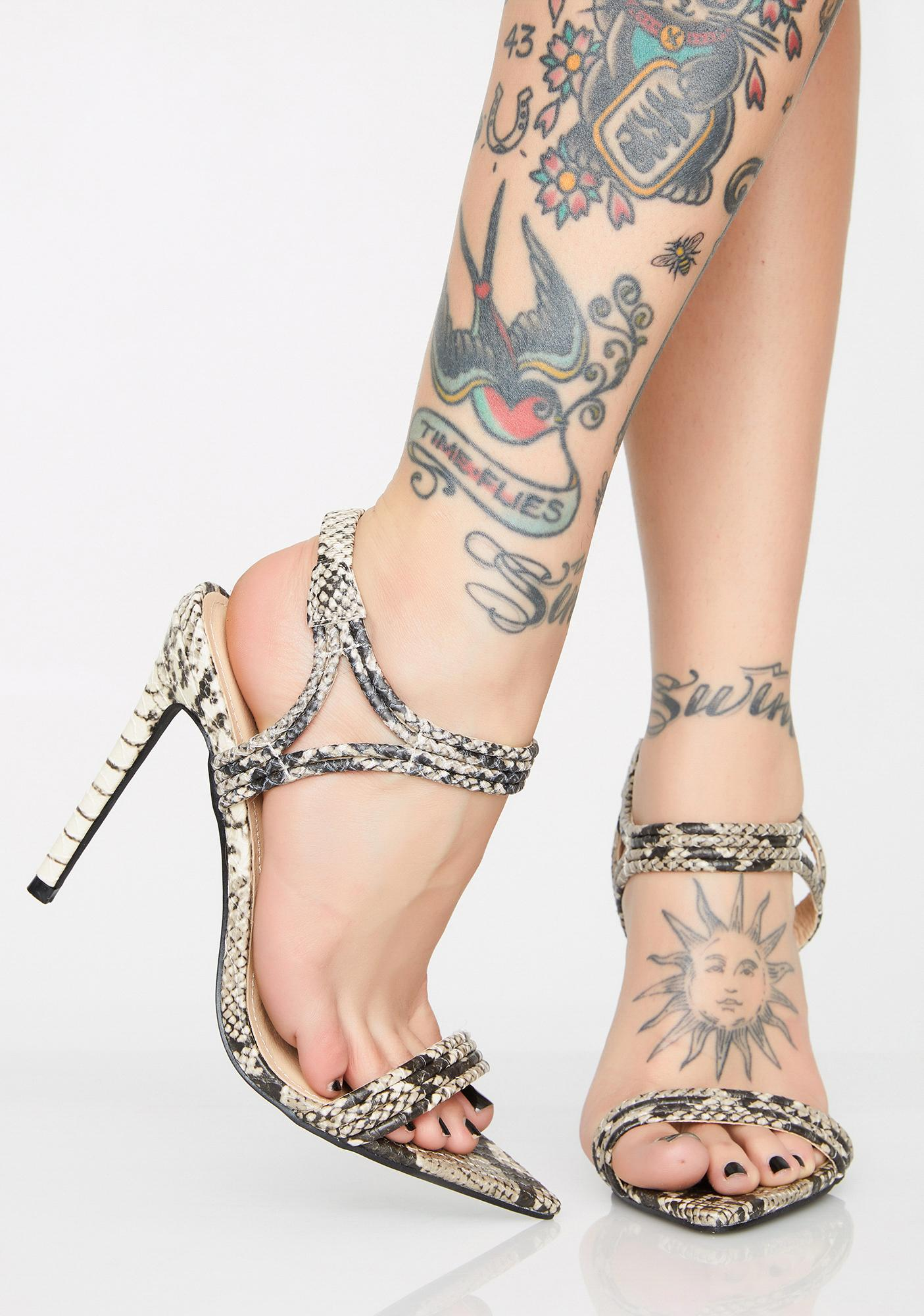 4a21f28495447a Snake Skin Strappy Pointed Toe Heels | Dolls Kill