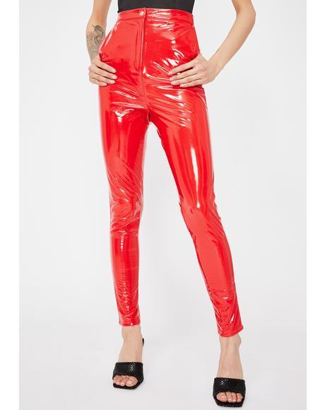 Red Skinny Vinyl Trousers