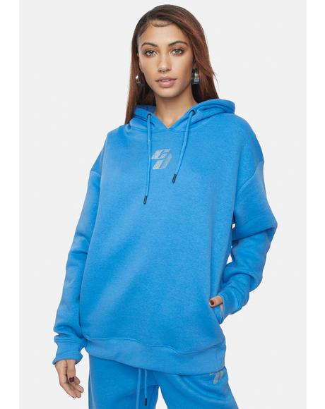 Blue Hoodie With Rhinestone Embellishment