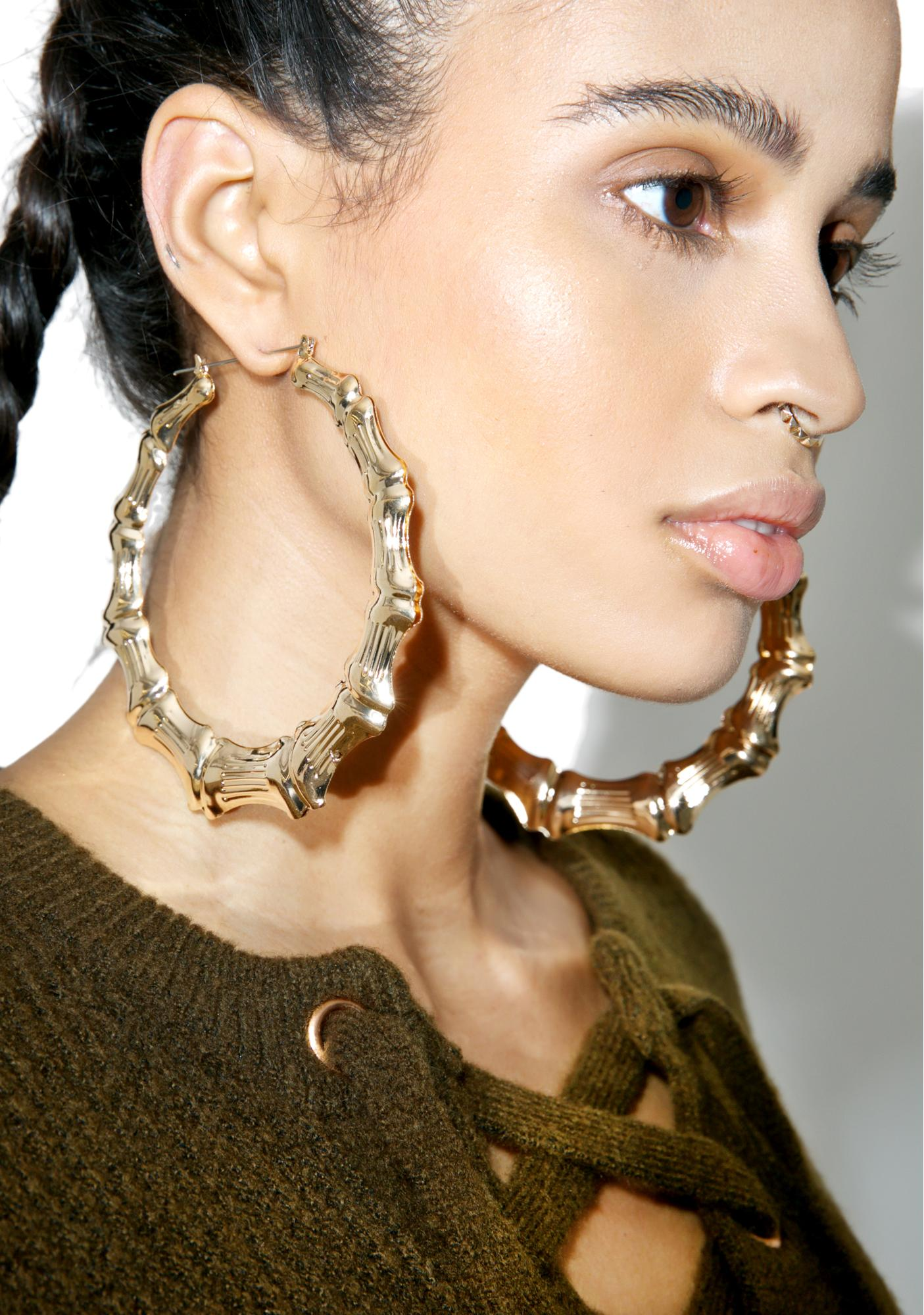 1dd643a24 Gold Bamboo Oversize Hoop Earrings | Dolls Kill