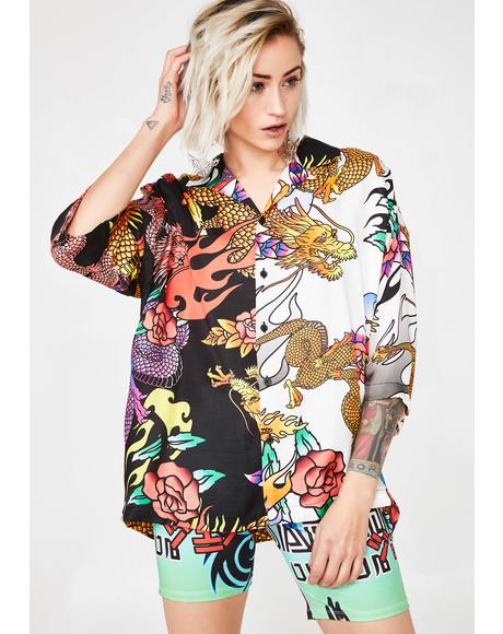 Half N' Half Oversized Dragon Print Shirt