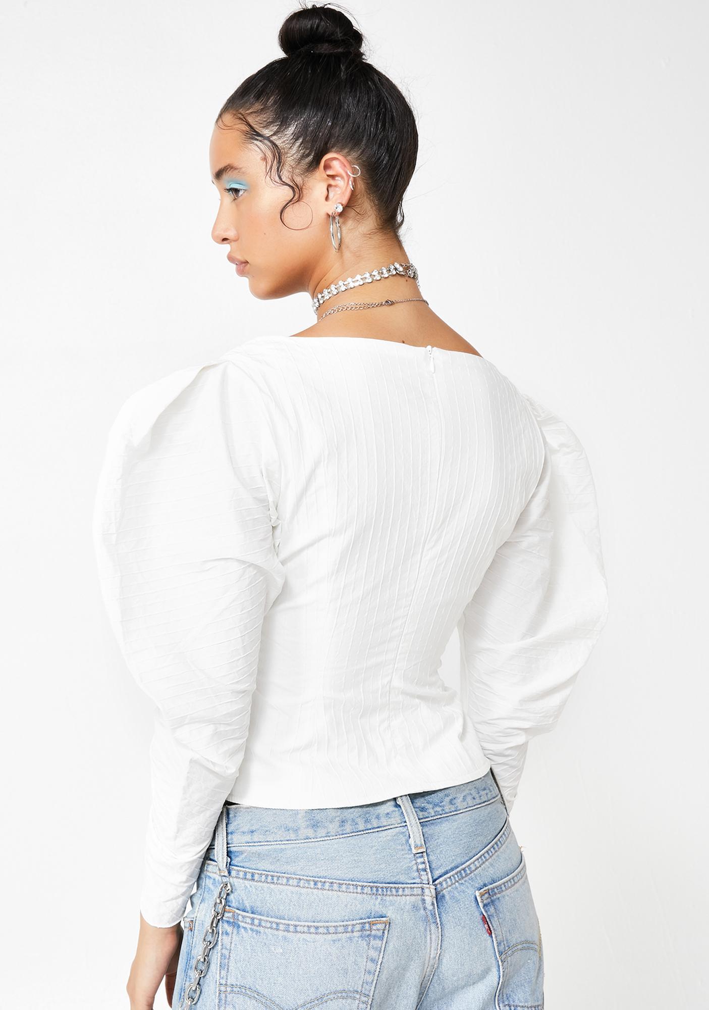ZEMETA Queens Pearl Puff Sleeve Top