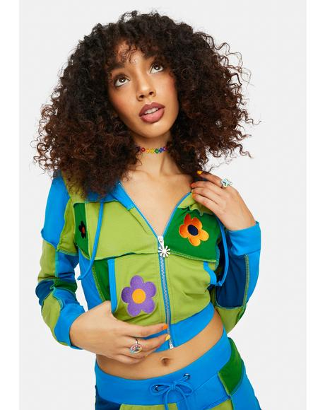 Later Days Patchwork Daisy Cropped Hoodie