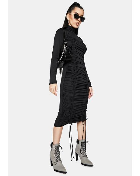 Goddess Of Mod Mock Neck Midi Dress