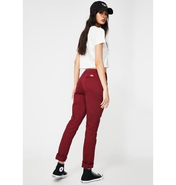 Dickies Girl Burgundy Original Skinny Leg Everyday Pant