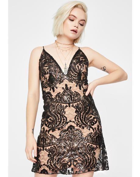 Night Shimmers Embroidered Dress