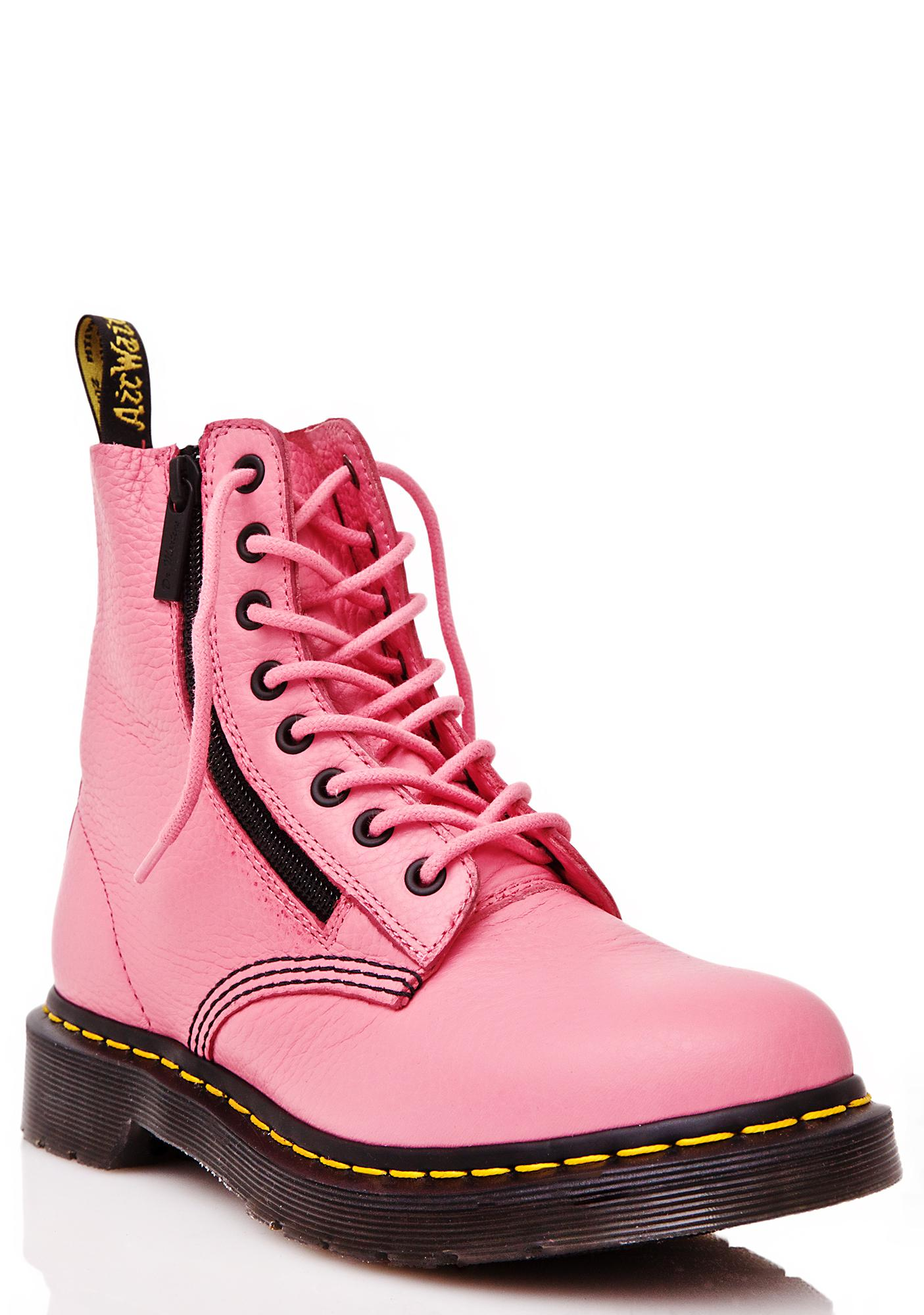 Dr. Martens Pink Zippered Pascal 8 Eye Boots