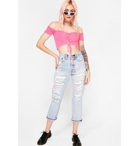 Sweet Don't Try It Lace-Up Top