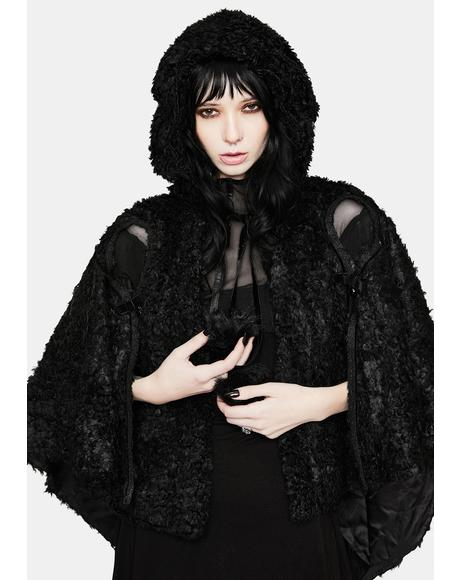 Lolita Heart Shaped Hollow Black Plush Cape
