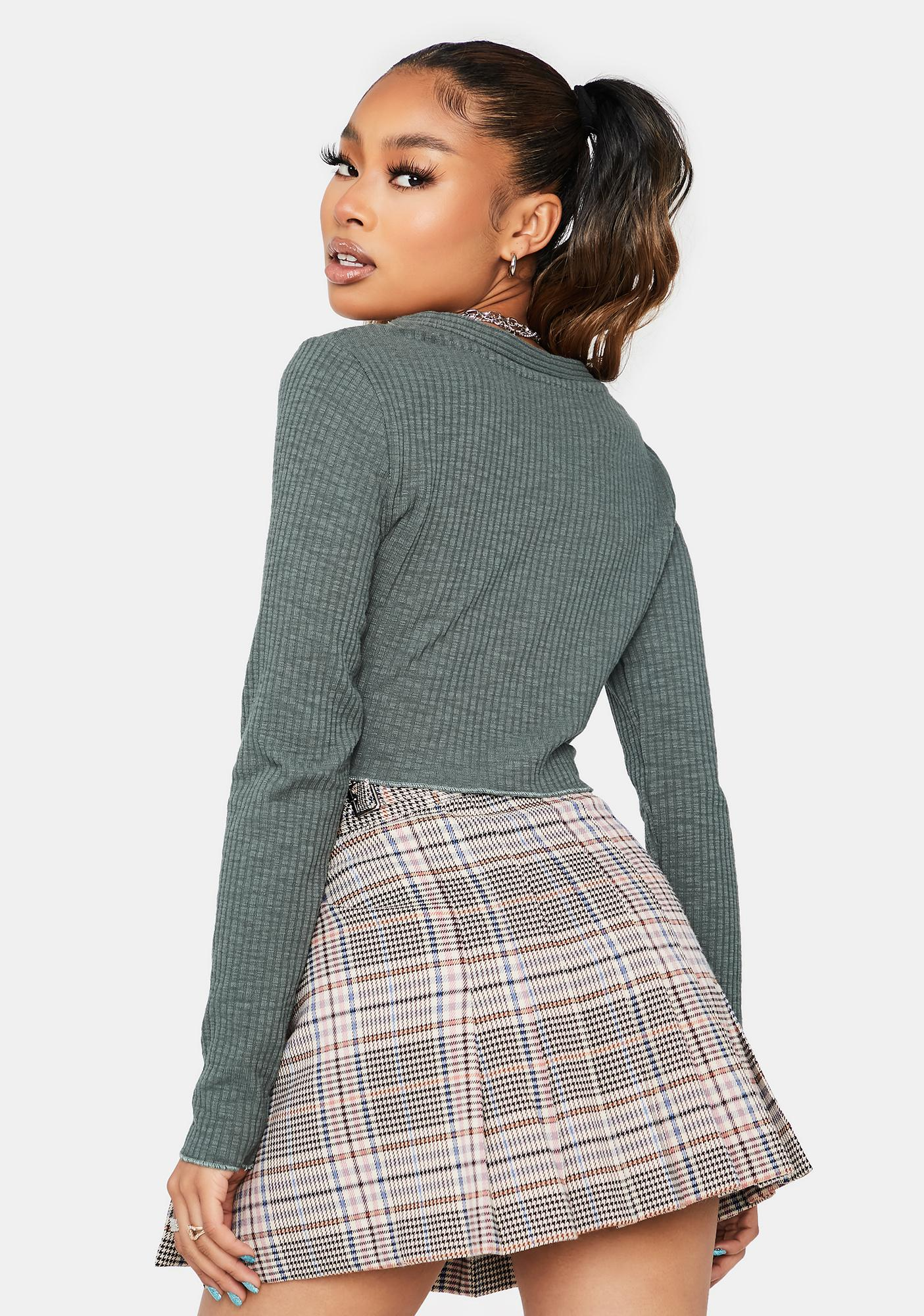 Olive Dialed In Long Sleeve Crop Top