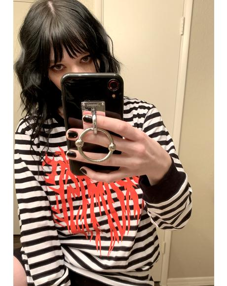 Death Cloak Stripe Long Sleeve Graphic Tee