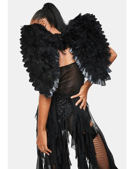 Midnight Angel Feathered Wings