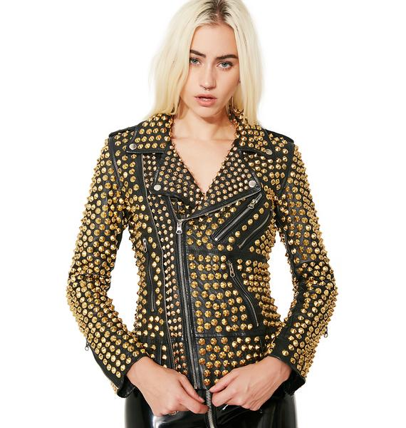 Hazmat Design Gilded Queen Of Metal Leather Jacket