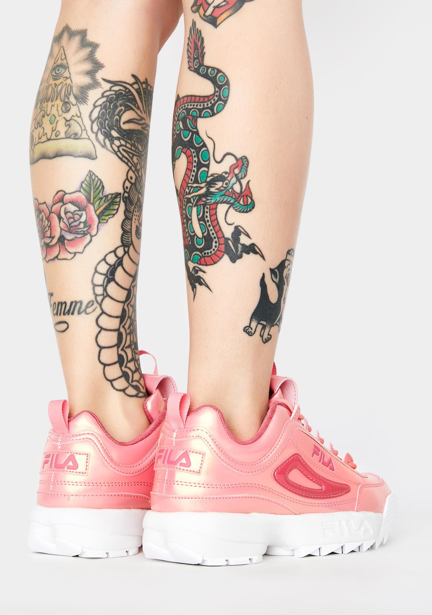 Fila Pink Disruptor II Liquid Luster Sneakers