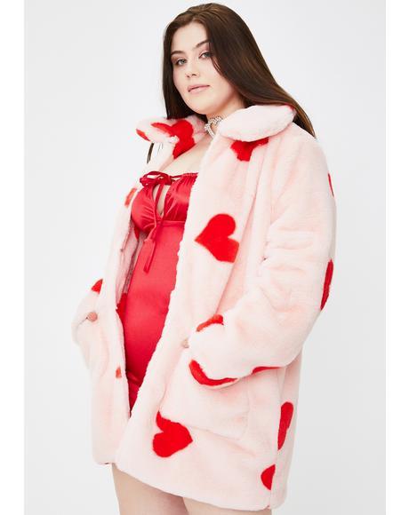 Plus Heart Print Faux Fur Coat