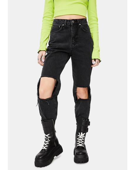 Charcoal Burner Mom Jeans