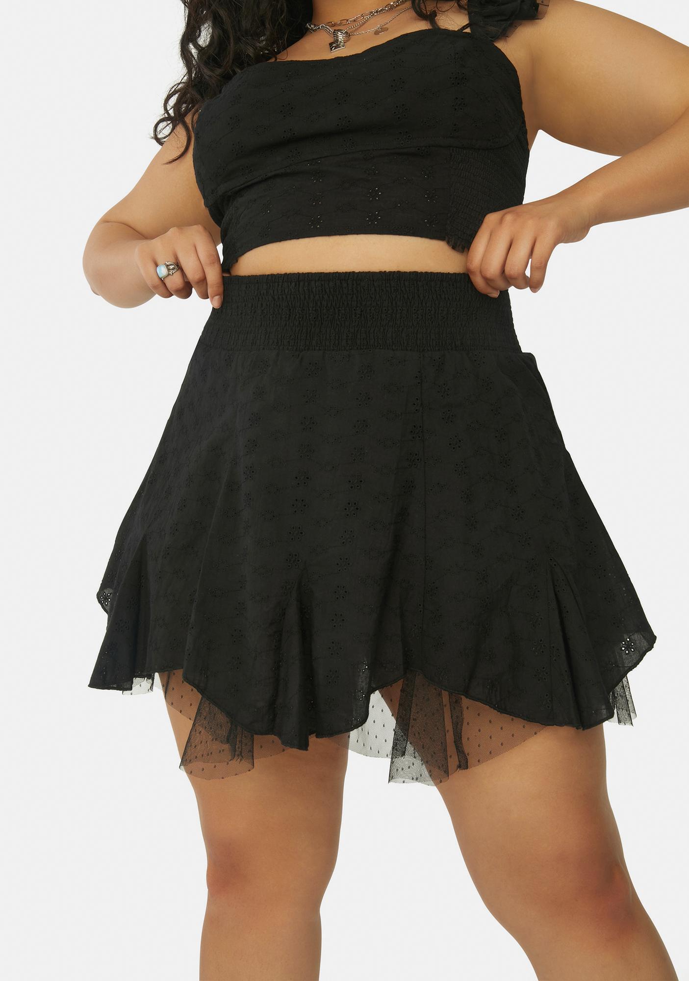 Current Mood My Unwritten Story Eyelet Ruffle Mini Skirt