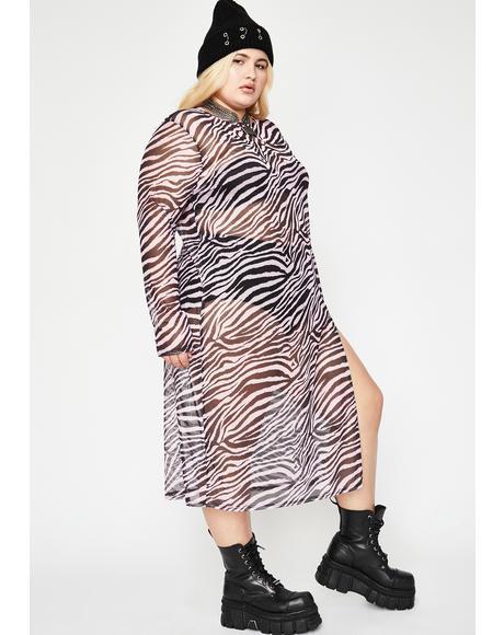 Lilac Zebra Print Mesh Dress