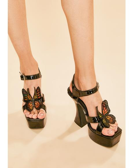 Paradise Awaits Butterfly Platform Sandals