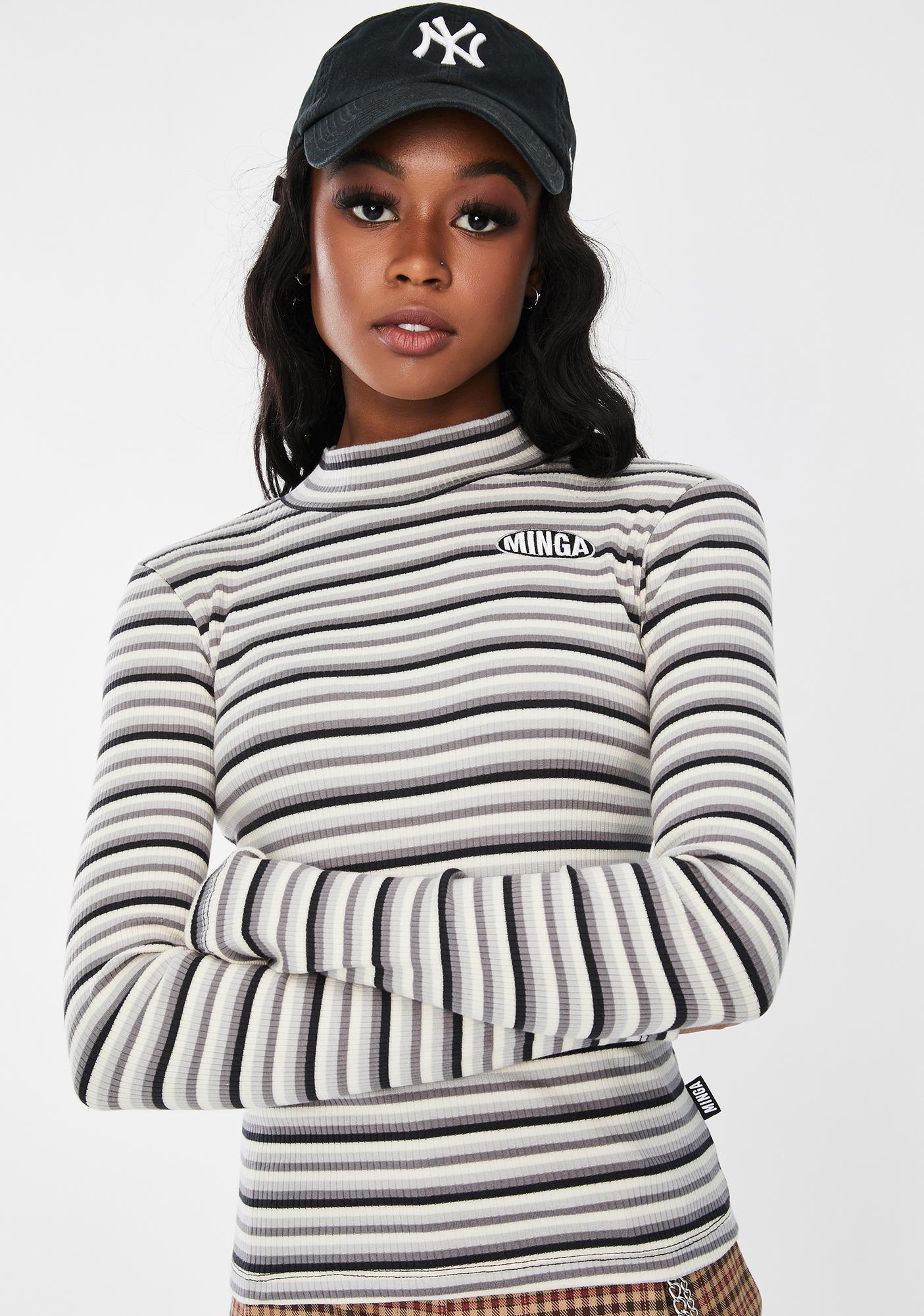 Minga Electra Striped Ribbed Top