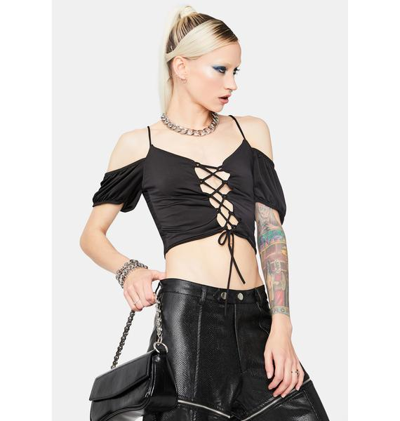 Falling For You Lace-Up Crop Top