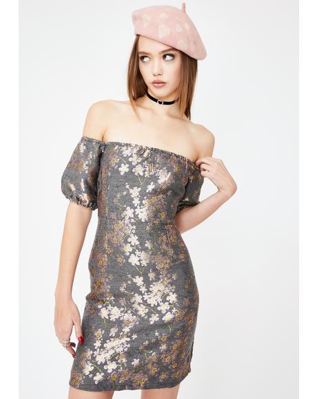 Brocade Off The Shoulder Dress