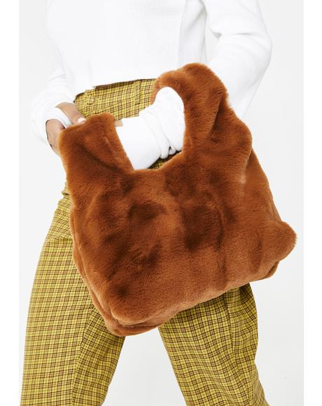 Cognac Living Luxe Faux Fur Bag