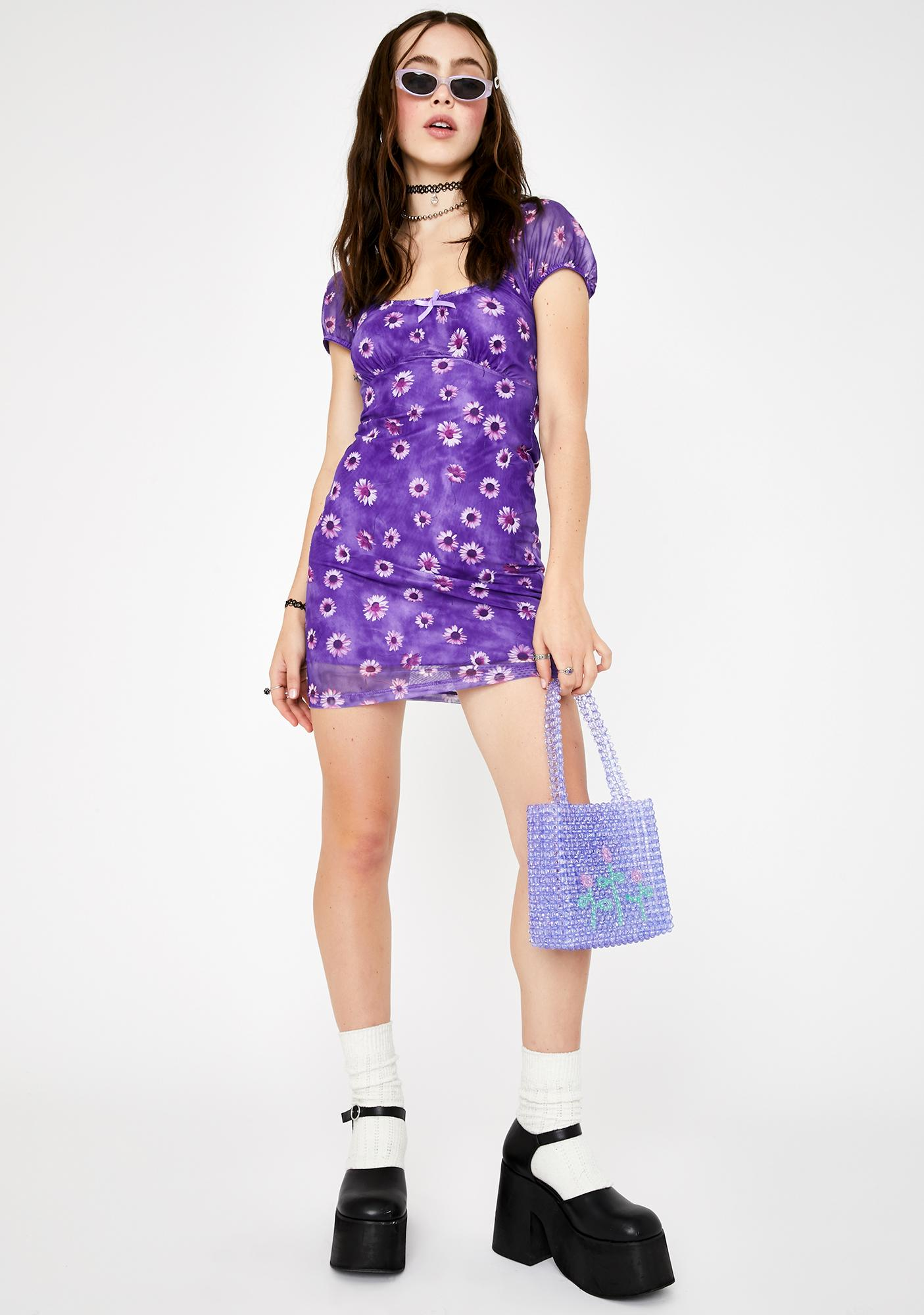 Motel Purple Daisy Galot Mini Dress