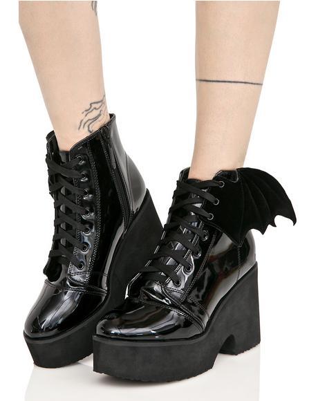 Patent Bat Wing Platform Boots
