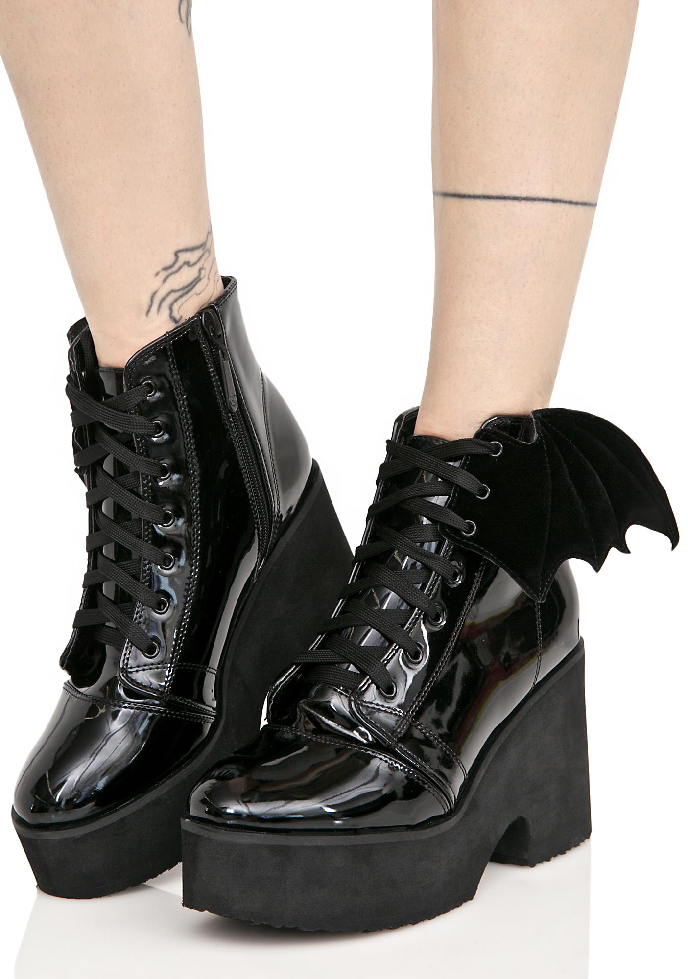Iron Fist Patent Bat Wing Platform Boots