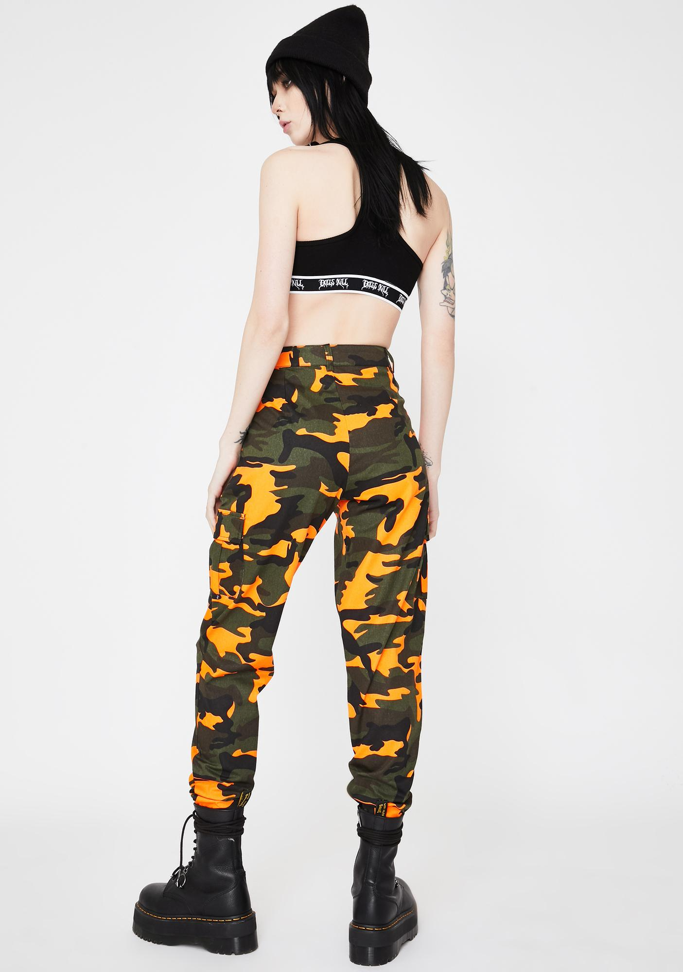 Daisy Street Neon Camo Cargo Pants
