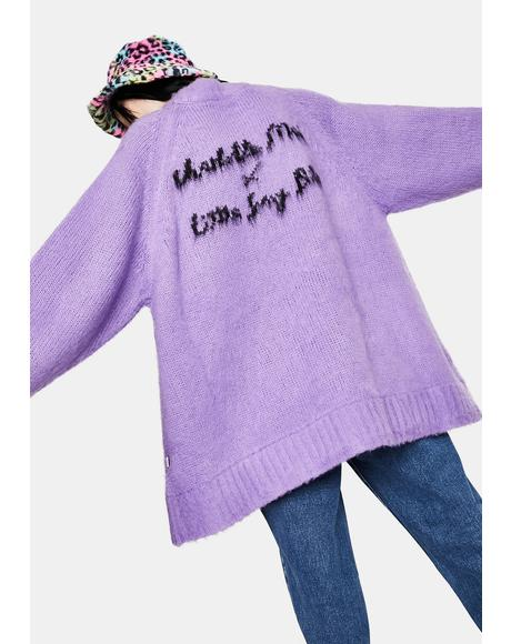 x Charlotte Mei Purple Flower Big Knit Sweater