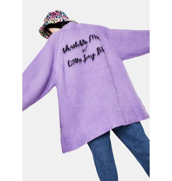 Little Sunny Bite x Charlotte Mei Purple Flower Big Knit Sweater