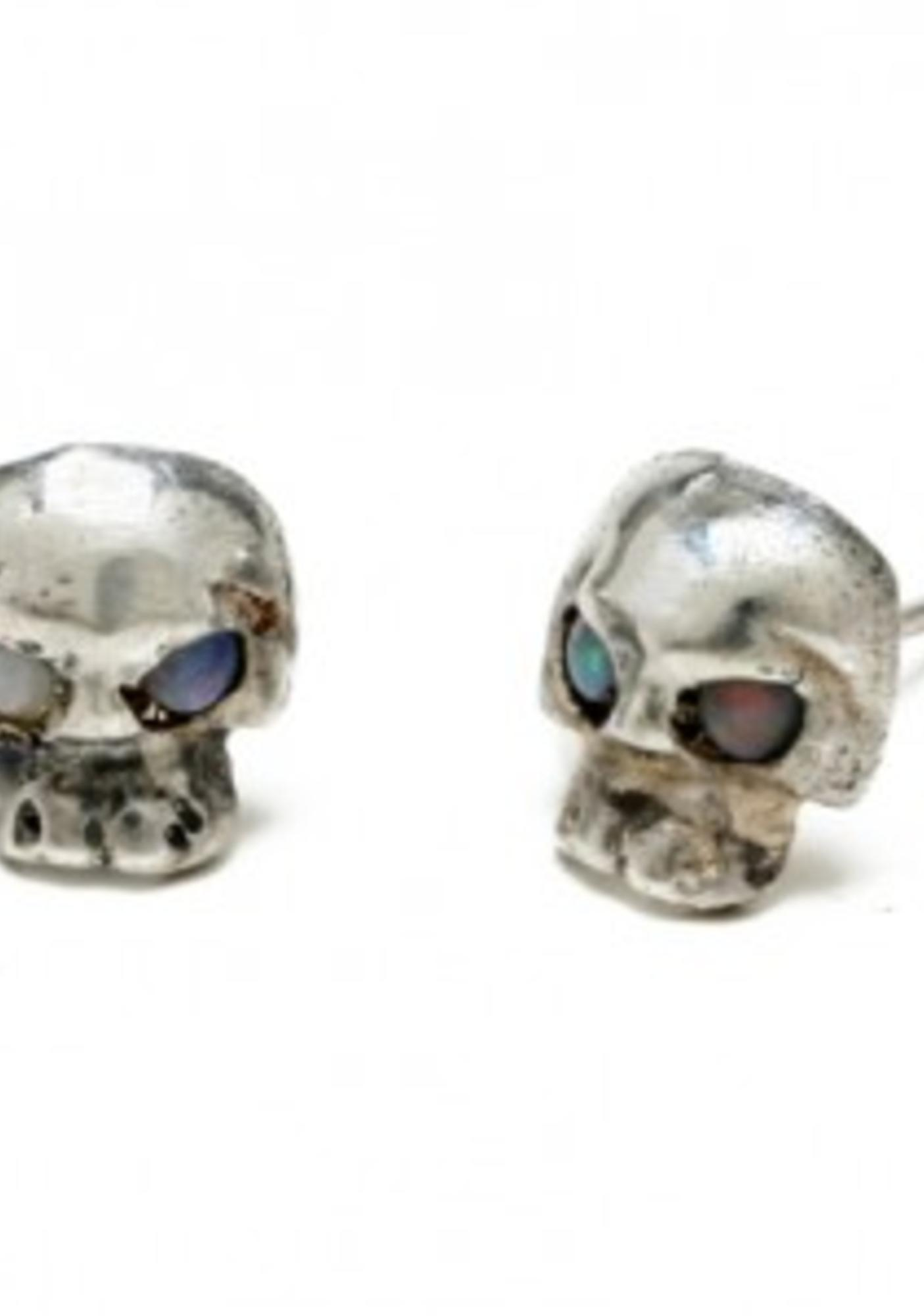 Opal Eyes Mini Skull Earrings