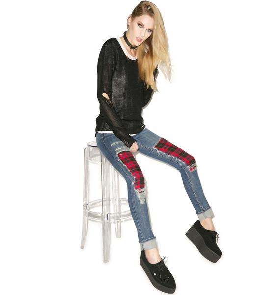 JET by John Eshaya Plaid Boyfriend Jeans